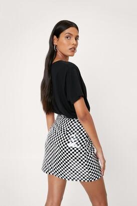Nasty Gal Womens Checkerboard Design Sequin Mini Skirt - Mono - 14
