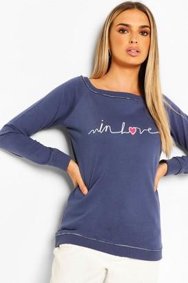boohoo In Love Printed Off The Shoulder Sweat