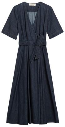 Max Mara Denim Wrap Midi Dress