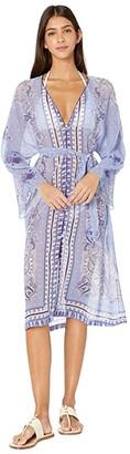 Etro Sheer Long Sleeve Cover-Up Dress (Navy) Women's Swimwear