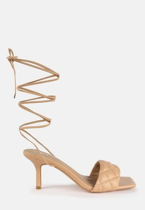 Missguided Sand Quilted Lace Up Mid Heel Sandals