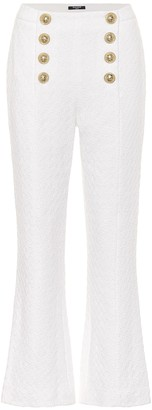 Balmain High-rise cropped cotton-blend pants