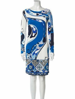 Emilio Pucci Printed Knee-Length Dress Blue
