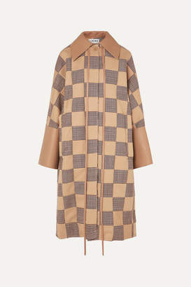Loewe Oversized Patchwork Houndstooth Cotton And Leather Coat - Beige