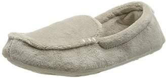 Dearfoams Women's Microfiber Terry Moccasin with Memory Foam Low-Top Slippers, Silver (Pewter 00028), 9-10 Uk (42-43 EU)