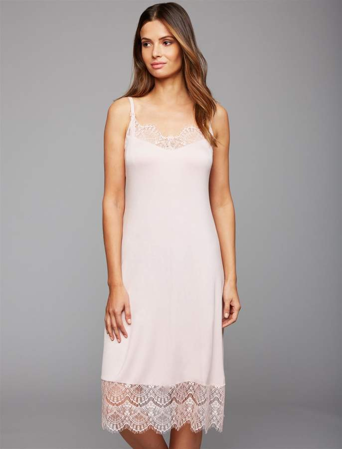 Clip Down Lace Trim Nursing Nightgown