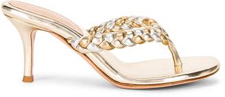 Gianvito Rossi Braid Thong Sandals in Platino & Mekong | FWRD