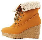 Charlotte Russe Bamboo Shearling-Lined Wedge Booties
