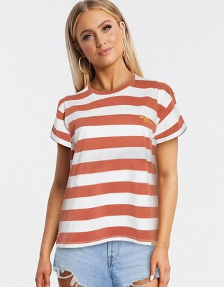 Blend She stripe t-shirt in brown