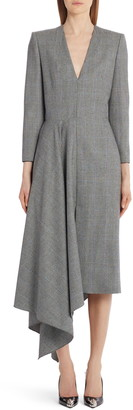 Alexander McQueen Glen Plaid Side Drape Wool & Cashmere Midi Dress
