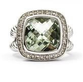 David Yurman 925 Sterling Silver Albion Prasiolite & Diamonds Ring Size 6