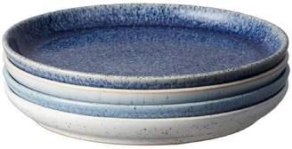 Denby Studio Blue Stoneware 4-Piece Coupe Tea Plate Set