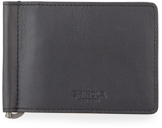 Shinola Men's Bifold Leather Wallet with Money Clip