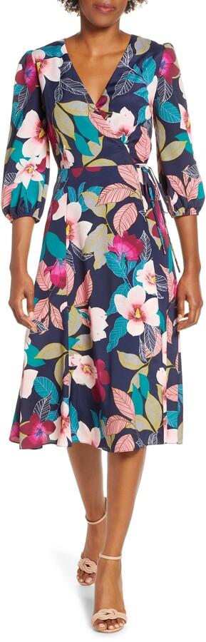 Eliza J Floral Print Faux Wrap Dress