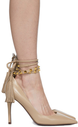 Valentino Pink Garavani Ankle Strap Rockstud 100 Heels