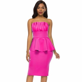 nuoshang Sexy Tube Top Backless Dresses for Women Pleated Ruffle Bodycon Party Midi Dress Rose