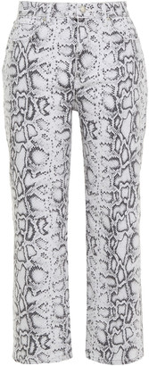 Alexander Wang Cropped Snake-print High-rise Straight-leg Jeans