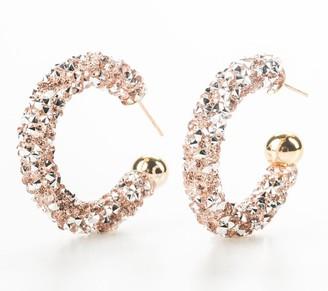 """Violet & Brooks 1-1/4"""" Gloria Glitter Hoop Earrings"""