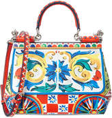 Dolce & Gabbana Sicily Small Mambo Print Leather Satchel