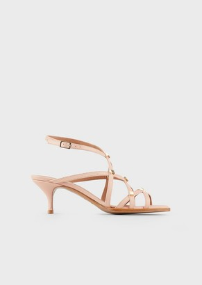 Emporio Armani Studded Woven-Leather Sandals