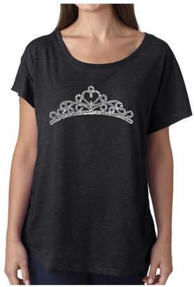 La Pop Art Women Dolman Cut Word Art Shirt - Princess Tiara