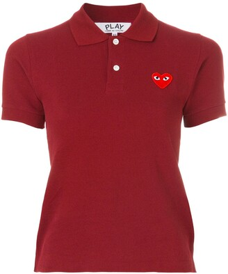 Comme des Garcons Logo Embroidered Cropped Polo Shirt