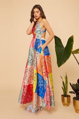Little Mistress Bright Multi Patch Work Print Strappy Wrap Dress