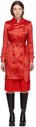 Burberry Red Nylon Kensington Trench Coat