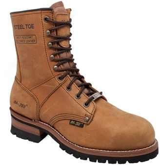 "AdTec Ad Tec 9"" Super Logger Steel Toe Boots for Men Leather Goodyear Welt Construction & Utility Footwear Durable and Long Lasting Work Shoes Lug Sole"