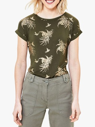 Oasis Tropical Print T-Shirt, Khaki