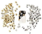 Best Price Set of 250 5mm Silver And Golden Star Metal Studs Manicure Nail Art 3D Decorations By VAGA