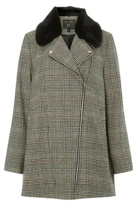 Dorothy Perkins Womens Multi Colour Check Print Faux Fur Collar Boyfriend Coat, Multi Colour