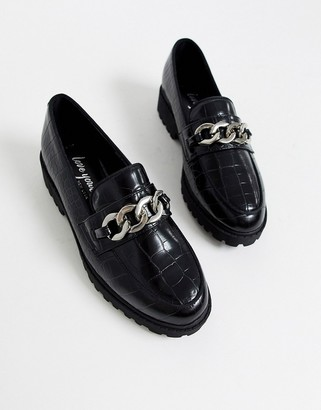 New Look chunky chain loafers in black
