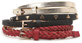 With Love From CA 3 Pack Skinny Stud Metallic Belts
