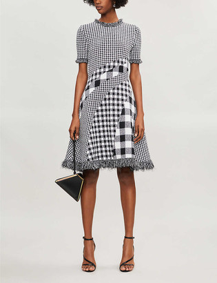 Oscar de la Renta Checked flared-hem woven midi dress