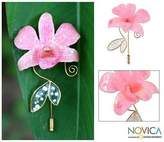 Gold Plated Natural Flower Brooch Pin, 'Perfectly Pink'