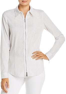 Lafayette 148 New York Connor Striped Zip-Front Blouse