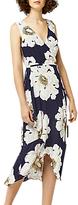 Warehouse Melody Floral Asymmetric Wrap Dress, Blue Pattern