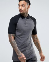 Asos Longline Muscle Polo Shirt With Contrast Raglan In Charcoal And Black