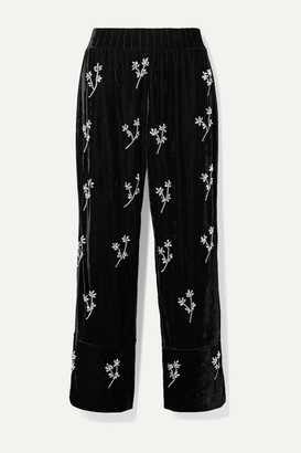PatBO Crystal-embellished Velvet Wide-leg Pants - Black