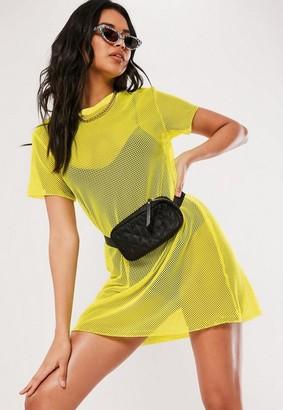 Missguided Yellow Fishnet Oversized T Shirt Dress