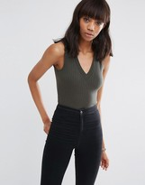 Asos Sleeveless Top With V Neck In Clean Rib