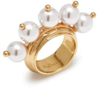 Mulberry Pearl Ring White Mother of Pearl effect Resin with Beads and Brass