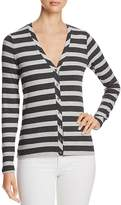 Three Dots Stripe V-Neck Cardigan