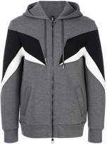 Neil Barrett geometric insert zip hoodie