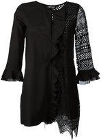 Twin-Set ruffle lace contrast blouse