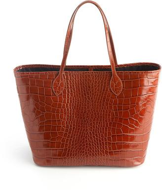 ROYCE New York Croc-Embossed Wide Tote Bag with Wristlet