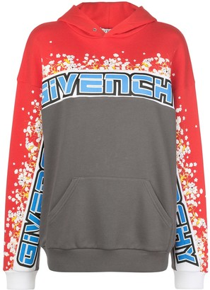 Givenchy Floral Print Colour-Block Hoodie