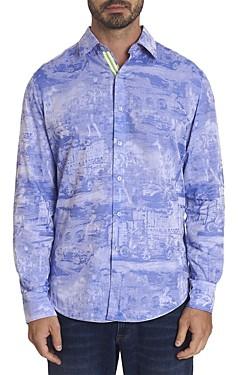 Robert Graham Summer Cruising Limited Edition Cotton-Blend Jacquard Classic Fit Button-Up Shirt