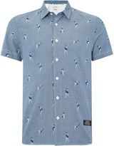 Schott Nyc Regular Fit Pin Up Print Short Sleeve Shirt